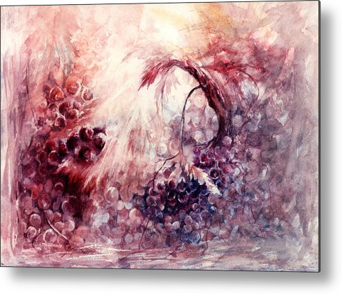 Grapes Metal Print featuring the painting A Grape Fairy Tale by William Russell Nowicki