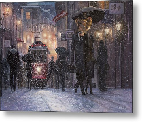 Music Metal Print featuring the painting A Midwinter Night's Dream by Adrian Borda