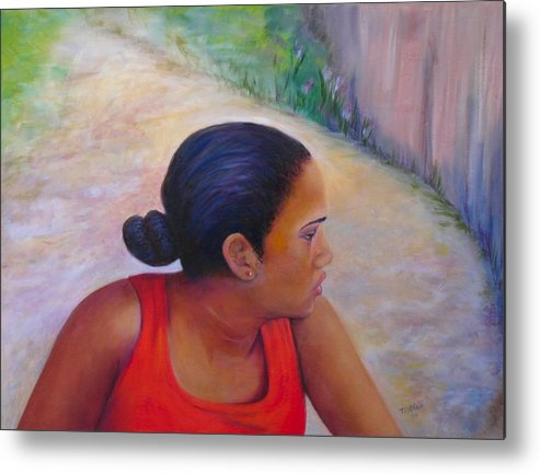Portrait Metal Print featuring the painting A Penny for Your Thoughts by Merle Blair