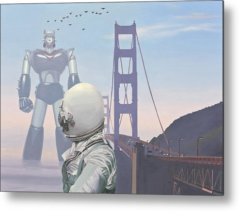Astronaut Metal Print featuring the painting A Very Large Robot by Scott Listfield