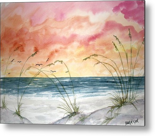 Abstract Metal Print featuring the painting Abstract Beach Painting by Derek Mccrea