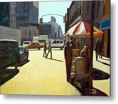 Cityscape Metal Print featuring the painting Another summer in Manhattan by Tate Hamilton