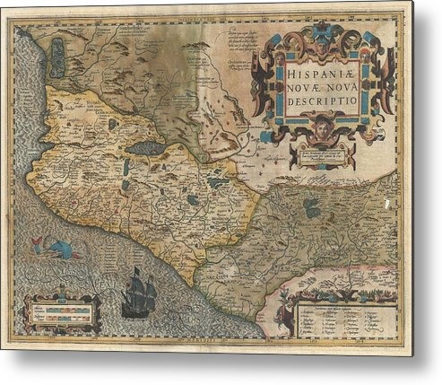 Antique Maps Old Cartographic Maps Hondius And Mercator Map Of Mexico 1606 Metal Print By Studio Grafiikka