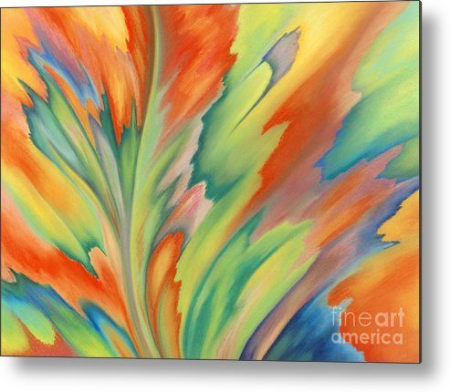 Abstract Metal Print featuring the painting Autumn Flame by Lucy Arnold