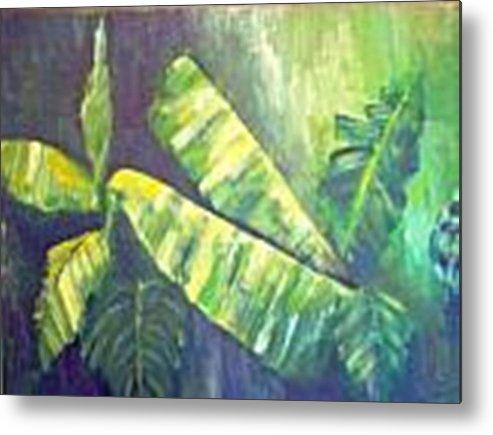 Banana Leaf Metal Print featuring the painting Banan Leaf by Carol P Kingsley