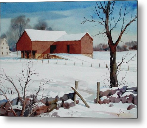 Landscape Metal Print featuring the painting Bankbarn in the Snow by Faye Ziegler