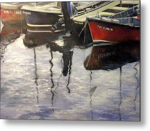 Arte Metal Print featuring the painting Barcas en puertochico-Santander by Tomas Castano
