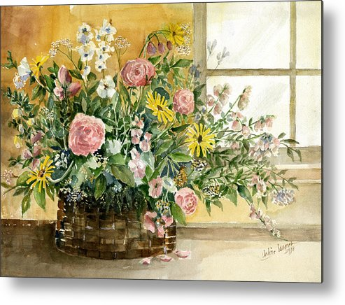 Basket Metal Print featuring the painting Basket Bouquet by Arline Wagner