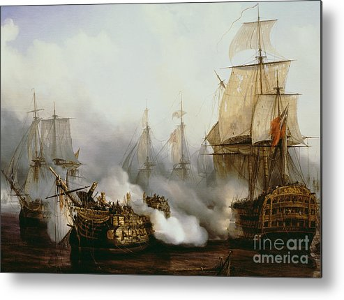 Battle Of Trafalgar By Louis Philippe Crepin Metal Print featuring the painting Battle of Trafalgar by Louis Philippe Crepin