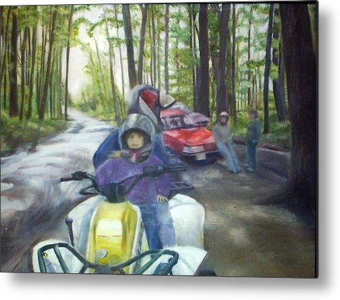 Quad Metal Print featuring the painting Be Right Back by Sheila Mashaw