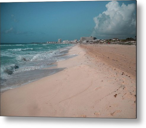 Beach Metal Print featuring the digital art Beautiful beach in Cancun, Mexico by Nicolas Gabriel Gonzalez