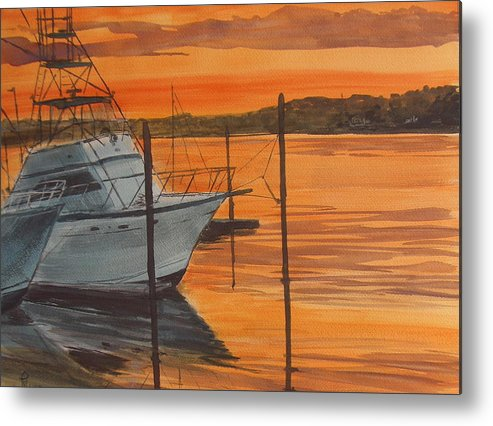 Sunset Metal Print featuring the painting Belmar Sunset by Pete Maier