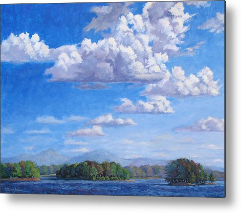 Smith Mountain Lake Metal Print featuring the painting Beyond The Lake by L Diane Johnson