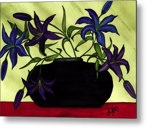 Black Vase Metal Print featuring the painting Black Vase with Lilies by Stephanie Jolley