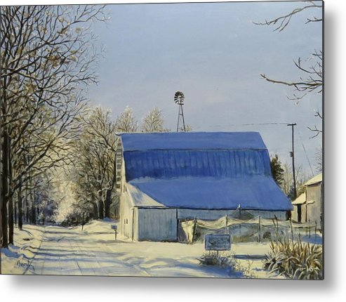 Landscape Metal Print featuring the painting Blue Sunday by William Brody