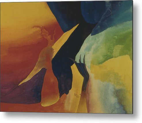 Abstract Metal Print featuring the painting Bridging Worlds by Peter Shor