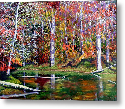 Fall Metal Print featuring the painting Brown County in Fall by Stan Hamilton