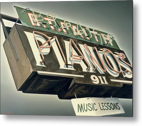 Sign Metal Print featuring the painting B.T.Faith Pianos by Van Cordle
