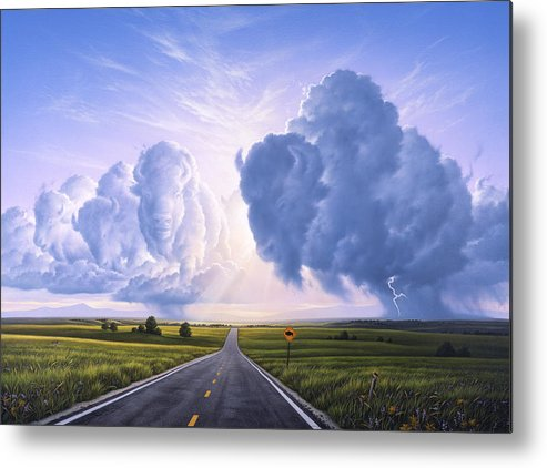 Buffalo Metal Print featuring the painting Buffalo Crossing by Jerry LoFaro