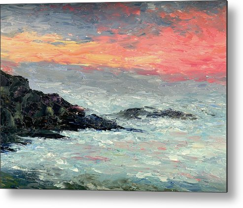 Seascape Metal Print featuring the painting California Coast by Gail Kirtz