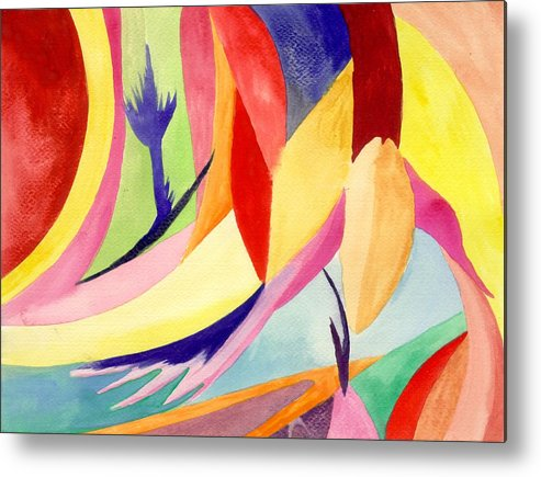 Abstract Metal Print featuring the painting Cancun 3 by Peter Shor