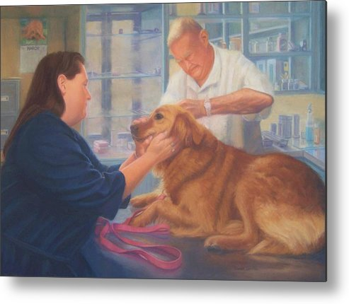Charlie Metal Print featuring the painting Charlie and the Vet by Diane Caudle