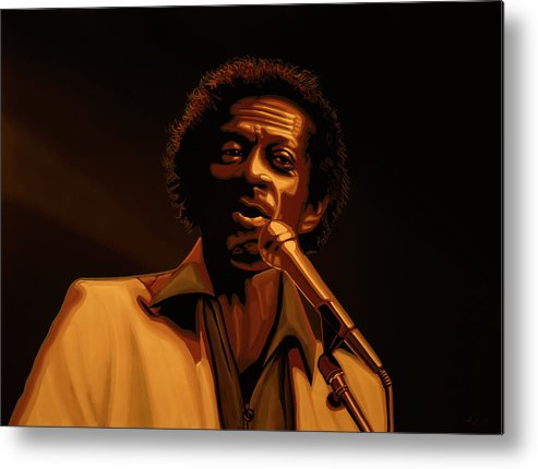 Chuck Berry Metal Print featuring the mixed media Chuck Berry Gold by Paul Meijering