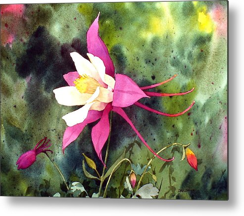Flowers Metal Print featuring the painting Columbine by Faye Ziegler