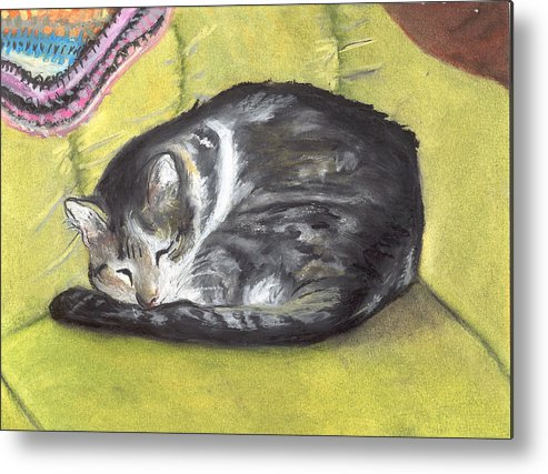Oil Pastel Metal Print featuring the painting Comfortable Cat by Pamela Wilson