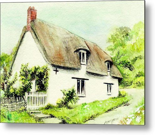 Country Metal Print featuring the painting Country Cottage England by Morgan Fitzsimons