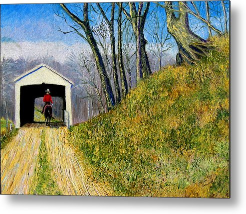 Cowboy Metal Print featuring the painting Covered Bridge And Cowboy by Stan Hamilton