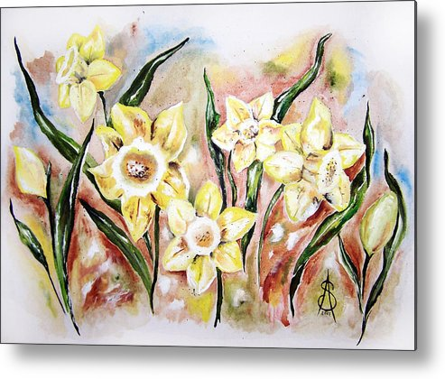 Floral Metal Print featuring the painting Daffodil Drama by Amanda Sanford