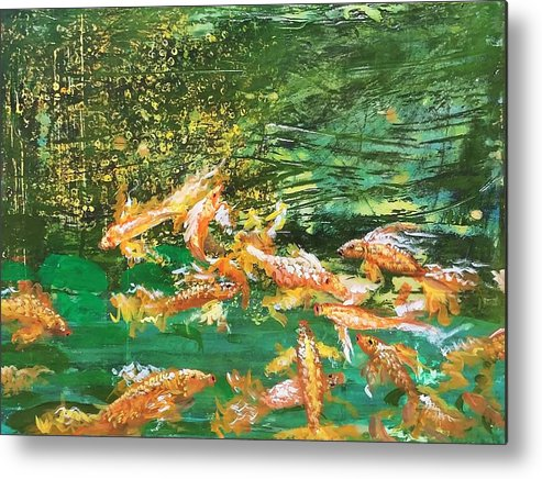 Gold Fish Metal Print featuring the painting Dance of Golden Angels by J Bauer