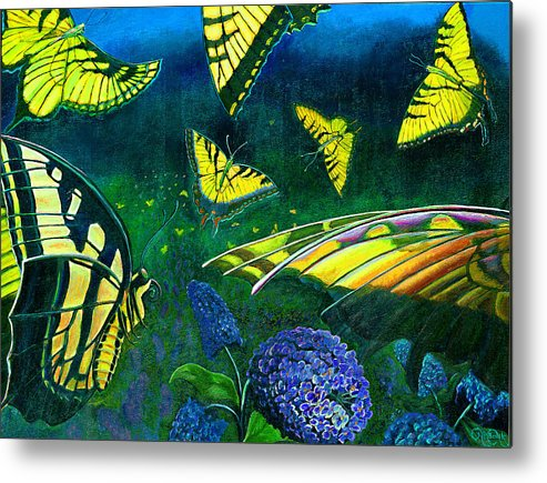 Butterfly Metal Print featuring the painting Dance Of The Butterflies by Peter Bonk