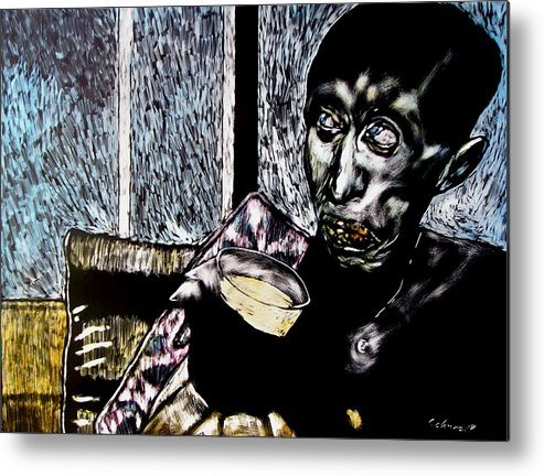 Social Commentary Metal Print featuring the mixed media Darfu In Our Living Room by Chester Elmore