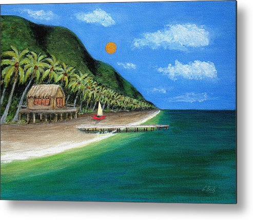Contemporary Tropical Seascape Coastal Palm Trees Sailboat Sailing Ocean Beach Tahiti G Metal Print featuring the painting Distant Shores by Gordon Beck