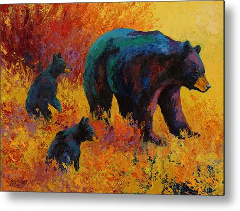 Bear Metal Print featuring the painting Double Trouble - Black Bear Family by Marion Rose