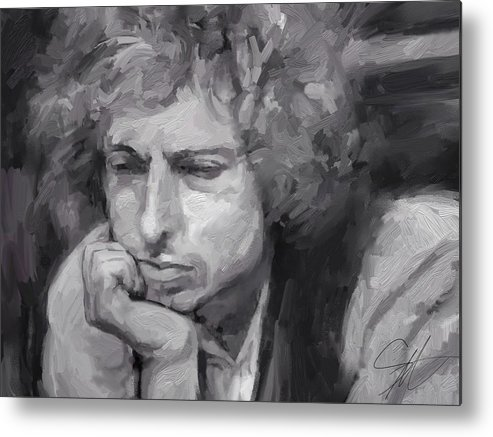 Bob Dylan Music Portrait Musician Rock Metal Print featuring the digital art Dylan by Scott Waters