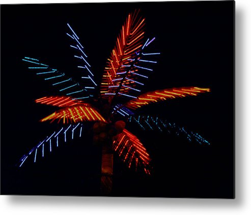 Neon Metal Print featuring the photograph Ellas Neon Palm by David Houston