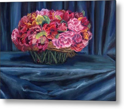Flowers Metal Print featuring the painting Fabric And Flowers by Sharon E Allen