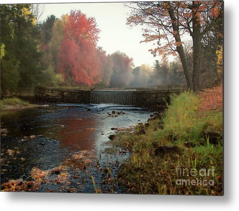 Foggy Fall Morning Metal Print featuring the photograph Fall at Griffin Mill by Diana Nault