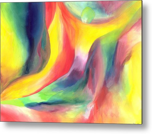 Abstract Metal Print featuring the painting Falling by Peter Shor