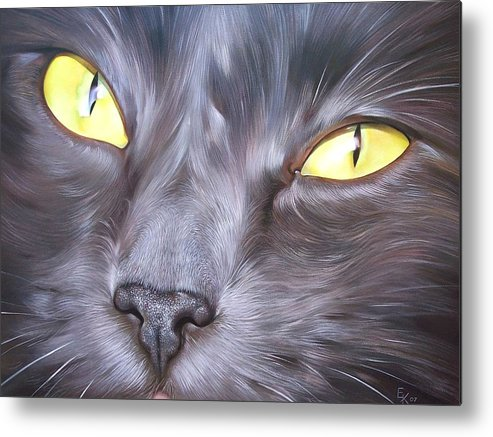 Cat Metal Print featuring the painting Feline Face 1 by Elena Kolotusha