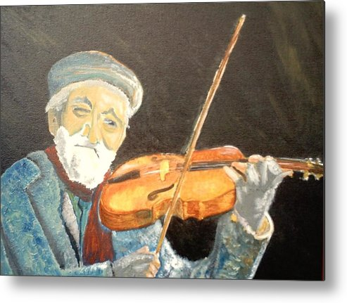 Hungry He Plays For His Supper Metal Print featuring the painting Fiddler Blue by J Bauer
