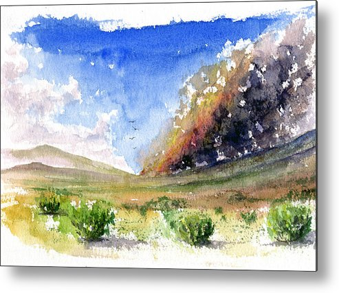 Fire Metal Print featuring the painting Fire in the Desert 1 by John D Benson