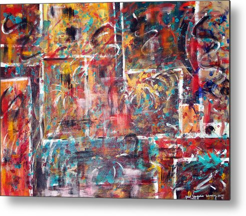 Acrylic Panting Metal Print featuring the painting Fire Works by Yael VanGruber