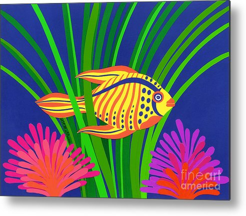 Nature Metal Print featuring the drawing Fish by Lucyna A M Green