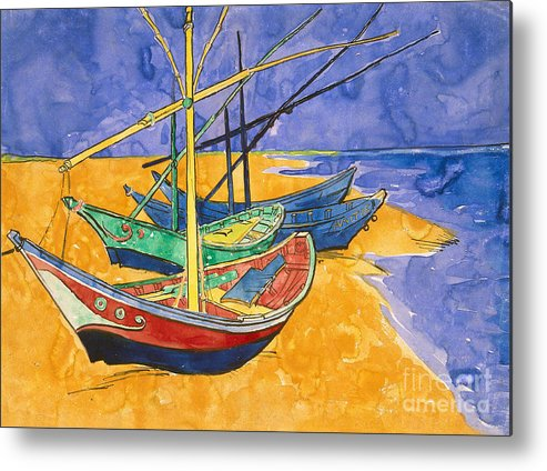 Fishing Metal Print featuring the painting Fishing Boats on the Beach at Saintes Maries de la Mer by Vincent Van Gogh