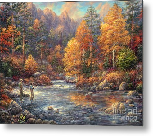 Fly Fishing Metal Print featuring the painting Fly Fishing Legacy by Chuck Pinson