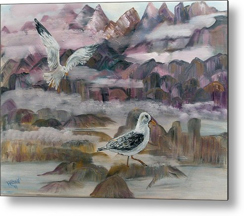Seagulls Metal Print featuring the painting Foggy Gulls by Mikki Alhart